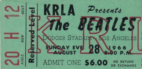 CONCERT TICKET STUB:  1966 The Beatles, KRLA, Dodger Stadium, Los Angeles