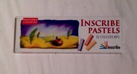 Inscribe Artists Soft Pastels 32 Half Stick Box Set Assorted Colours Art Set