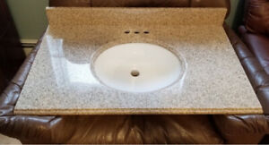 New: Granite bathroom countertop and sink combo