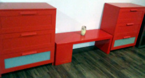 2 dressers and matching table red