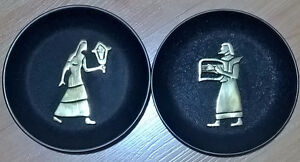 Vintage Egyptian Wall Plate with Brass Figurines Attached