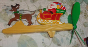 Vintage Plastic Christmas Windmill w/ Santa Riding in Sleigh