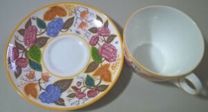 """Vintage 1992 Royal Doulton  """"Peonies""""  China Cup and Saucer set"""