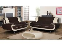 ..50 % OFF SALE.. BLACK AND WHITE KEROL 3 AND 2 SEATER LEATHER SOFA