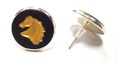 "Wedgwood Jewelry- Jasperware Cameo Stud Earrings ""Horse Head in Profile"""