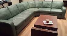 """Natuzzi Designed """"GIO"""" brown leather and dark wood coffee table Albert Park Port Phillip Preview"""