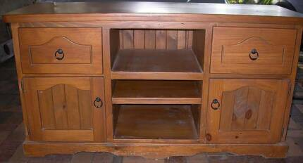 Large stained pine entertainment unit Glamorgan Vale Ipswich City Preview