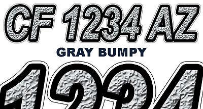 BUMPY TEXTURE Custom Boat Registration Numbers Decals Vinyl Lettering Stickers