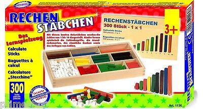 Rechenstäbchen 300 Teile Montessori Holz 1x1 lernen visuell Mathematik NEU