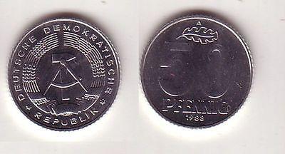 50 Pfennig Aluminium Münze DDR 1988 Stempelglanz (114121)