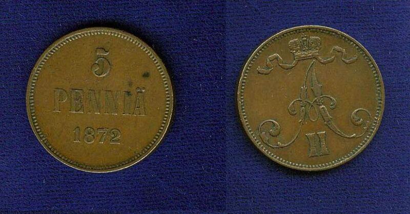 FINLAND (RUSSIA) ALEXANDER II  1872 5 PENNIA COIN   XF+
