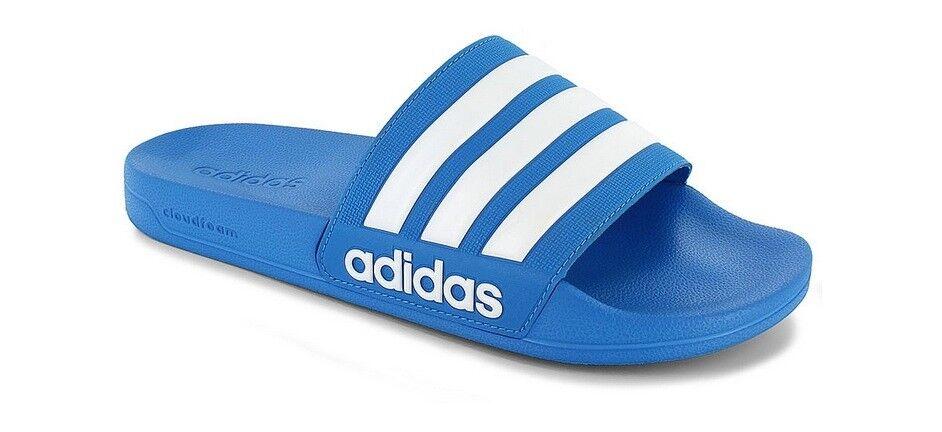 New adidas Men's Adilette CloudFoam Slides Blue Sandals Spor