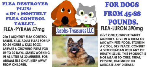 2 In1 Monthly Flea Pill, Flea Control, 12 Tablets, For Dogs From 45-88 LBS, 1 YR