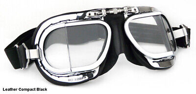 - NEW HALCYON COMPACT MK49 GOGGLES Tan Black Brown White Motorcycle Classic Rider
