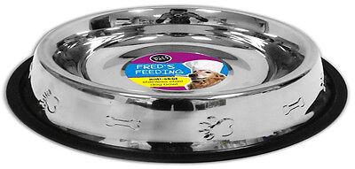 New Large Anti Skid Stainless Steel Dog Bowl 64oz 1.9 Litre Non Slip