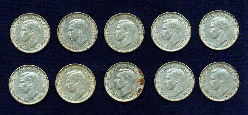 AUSTRALIA GEORGE VI 1942, 1942-S-D 6 PENCE SILVER COINS