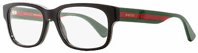 Gucci Rectangular Eyeglasses GG0343O 007 Black/Green/Red 57mm (Red Gucci Eyeglasses)