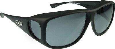 Fitovers Eyewear Sunglasses - Aviator - Matte Black Frame - Polarvue Gray Lens ()