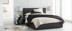Luxury leather double bed with mattress and drawer