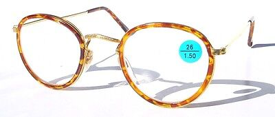 Vintage 90's Round Metal Double Rim Reading Glasses +3.25 (Tortoise)