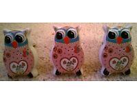 Three Ceramic Owl Door Handles