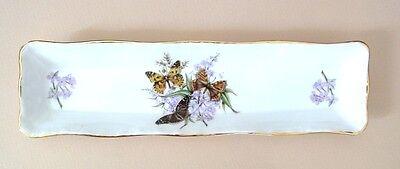 "Royal Grafton England Fine Bone China Mint Tray Butterflies &  Flowers  8"" Long"