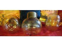 THREE Vintage Retro 1960/70's Brass & Iridescent Glass Ball Triple Ceiling Pendant Light Lamp Shades
