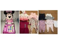 MINNIE MOUSE PHONE , MINNIE MOUSE TEDDY + 17 X BABY GIRLS 0-3/3-6/9-12 MONTHS CLOTHES