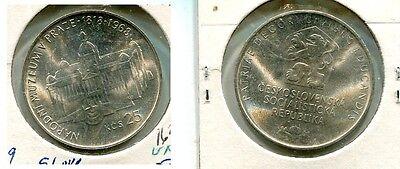 CZECHOSLOVAKIA 1968 25 KORUN SILVER COIN BU  1639H