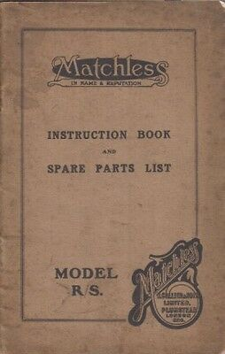 MATCHLESS MODEL R/S 1928-29 ORIG. OWNERS HANDBOOK & ILLUSTRATED SPARE PARTS LIST