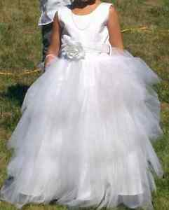 White flower girl or communion dress