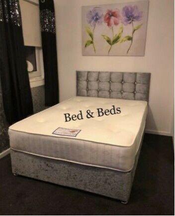 King Size Double Single Crush Velvet Divan Bed With Mattress Diamond Hb In Glasgow City Centre Glasgow Gumtree
