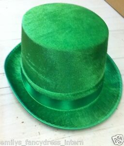 ST PATRICKS DAY HAT Mens Ladies Fancy Dress Top Hat VELOUR GREEN IRISH VICTORIAN