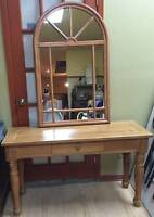 VINTAGE KNOTTY PINE HALL TABLE AND MIRROR