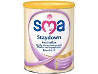 SMA stay down, unopened large tin of formula powder