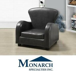 """NEW LEATHER -LOOK KID'S CLUB CHAIR Charcoal Grey Juvenile Chair, 20"""" KID'S FURNITURE - Monarch Specialties 109018694"""