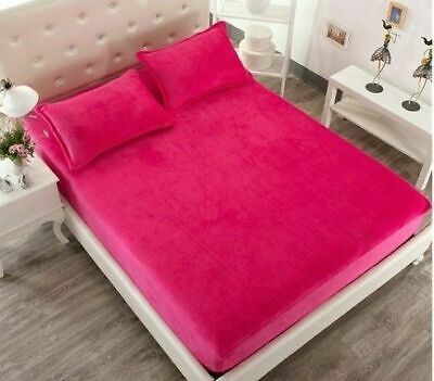 3 PC 14'' Nice Fuschia Velvet Queen 1 Fitted Sheet 2 Pillow Cases A1 Quality ()