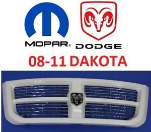 NEW* MOPAR OEM DODGE FRONT GRILLE 1fz31gw7ab 247275275 2008-2011 DODGE DAKOTA WHITE FINISH OEM MOPAR