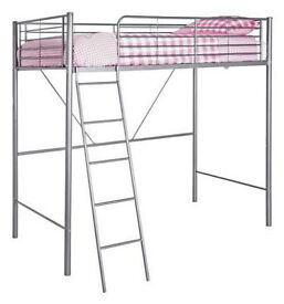 Metal High Sleeper Bed Frame - Silver