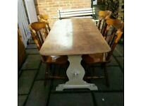 £165 antique solid oak dining table and chairs farmhouse shabby chic project