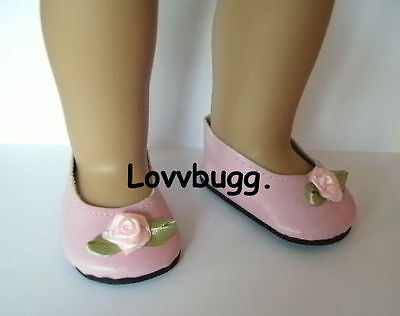 "Lovvbugg Pink Rose Clothes for 18"" American Girl or Bitty Baby Doll Shoes"