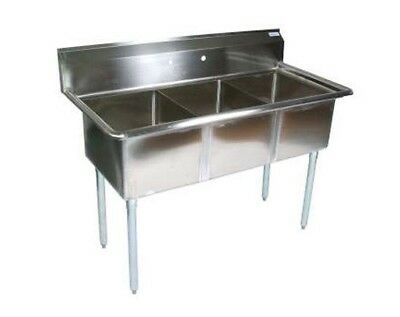 New 3 Compartment Sink 18 X 18 Basin No Drainboards Stainless Steel Nsf 7331