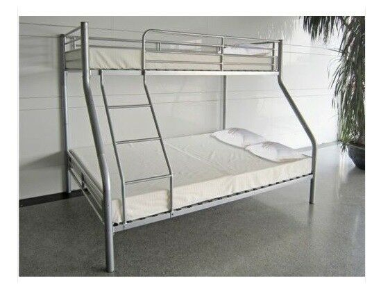 Triple Sleeper Metal Bunk Bed Double Bottom And Single Top Bed