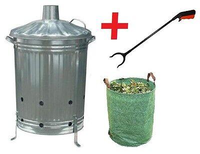Large 90L Garden Incinerator Burning Fire Bin Pit Waste Burner + BAG & GRABBER