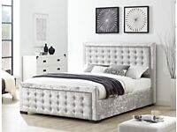 Fast Delivery Top Quality Crushed Velvet Double Bed King Bed Frame Extra High Headboard Buttoned