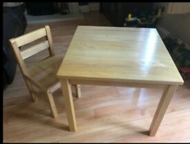 Solid Pine Child's Table and Chair Set