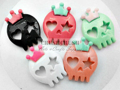 FREE SHIPPING--5pcs Tattoo Sugar Girly Skull With Crown Flat Back Cabochon F1280](Girly Back Tattoos)