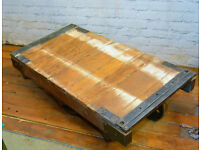 Industrial pitch pine antique railway cart coffee table wooden wood factory vintage rustic storage
