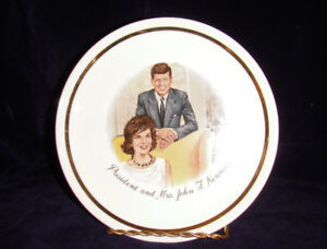 Collectors Plate President and Mrs. John F Kennedy Plate W/ Gold