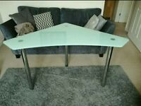Glass corner desk